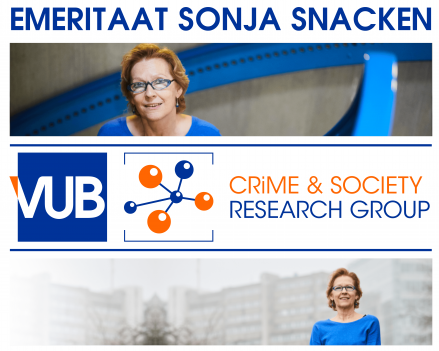 """Picture with the following text: """"emeritaat Sonja Snacken"""". Also two pictures of her and the logo's of VUB and CRiS have been added."""